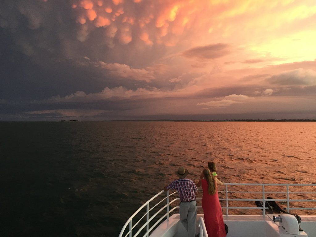 Whalesong Cruises Hervey Bay Sunset cruise family and storm