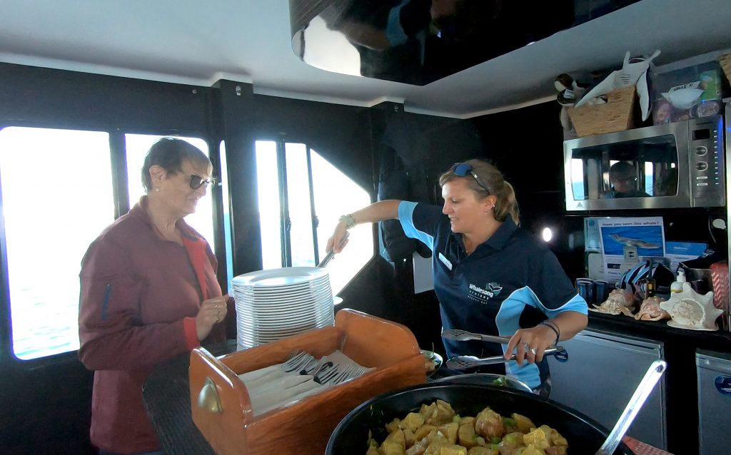 Whalesong Cruises Hervey Bay buffet lunch on morning cruise