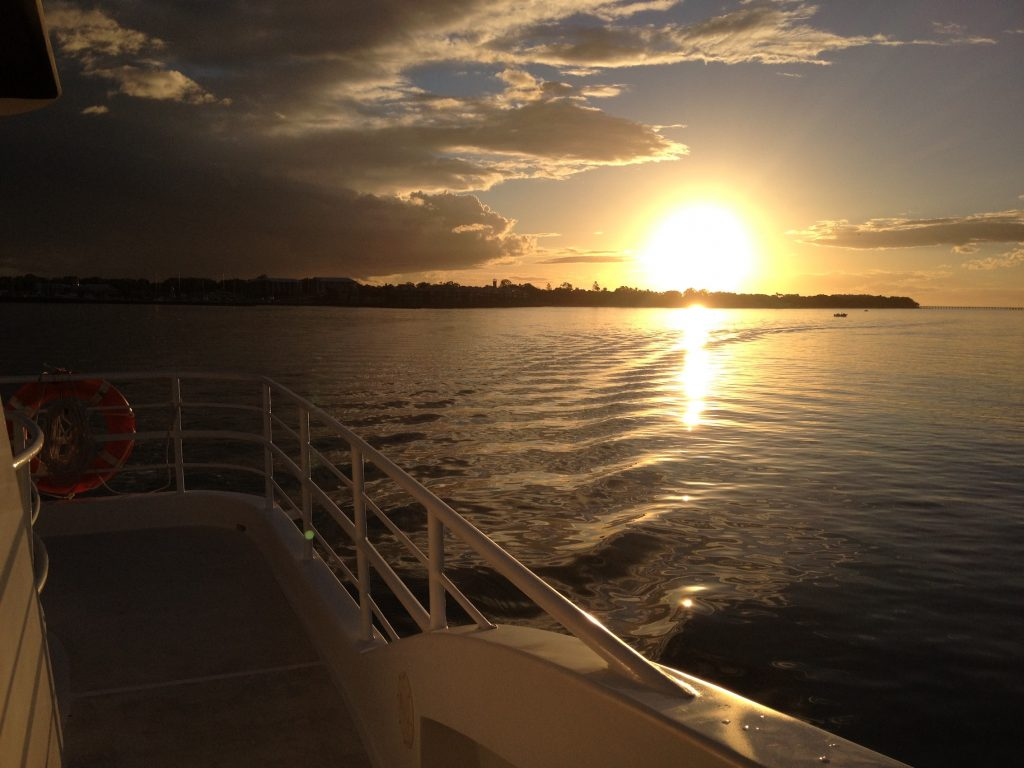 Whalesong Cruises Hervey Bay Sunset cruise calm waters