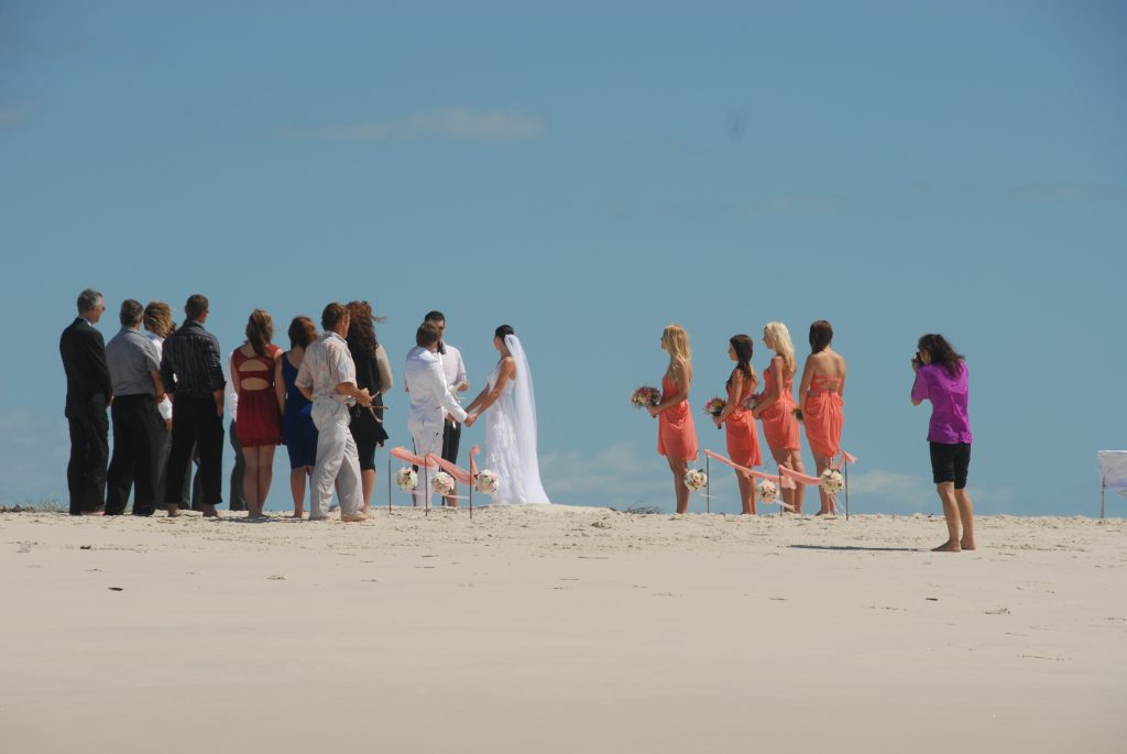 Whalesong Cruises Hervey Bay wedding on pelican bank
