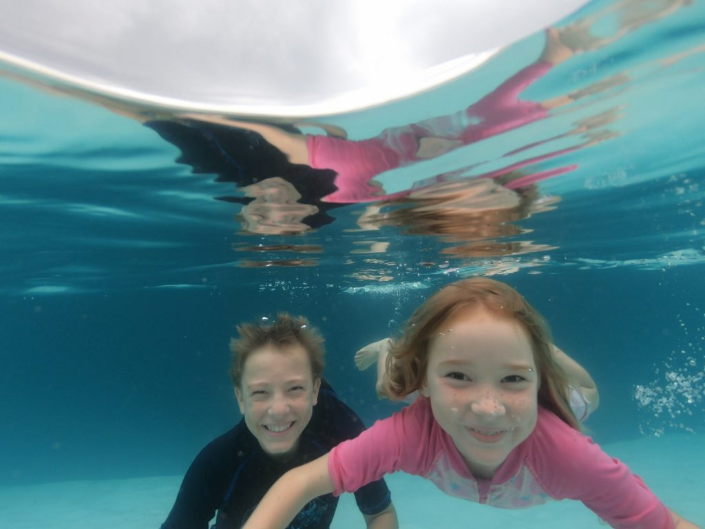 Whalesong Cruises Hervey Bay Lake McKenzie Fraser Island underwater with kids